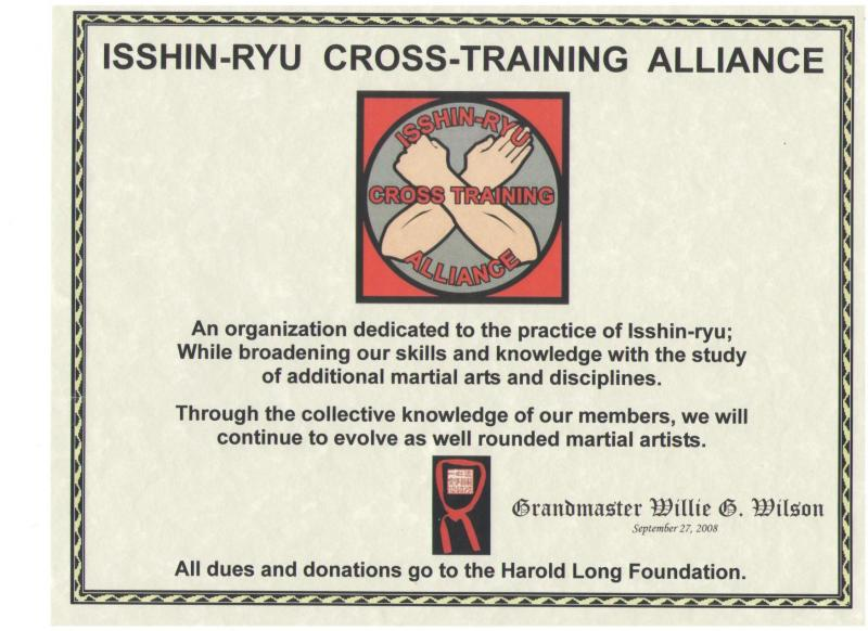 Isshry-Ryu Cross Training Alliance Support of Harold Long Foundation